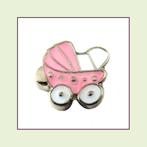 Baby Carriage Pink (Silver Base) Floating Charm