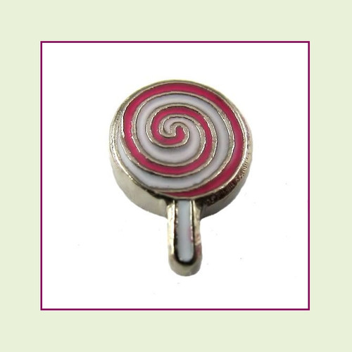 Pink Lollipop (Silver Base) Floating Charm