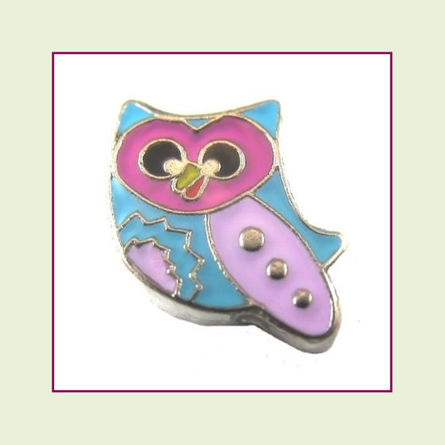 Colorful Owl (Silver Base) Floating Charm