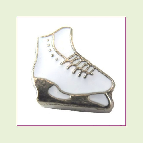 Ice Skate White (Silver Base) Floating Charm
