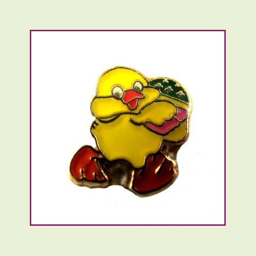 Easter Chick with Egg (Gold Base) Floating Charm