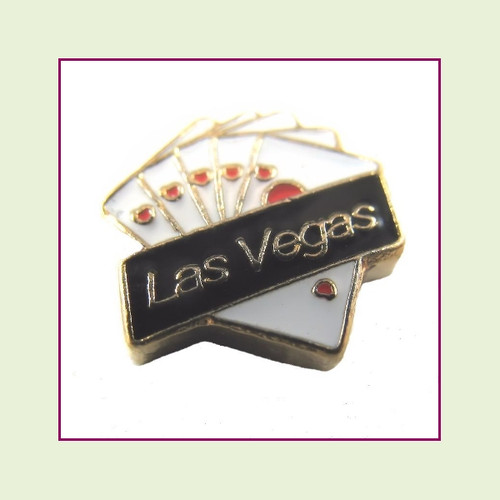 Las Vegas with Cards (Silver Base) Floating Charm
