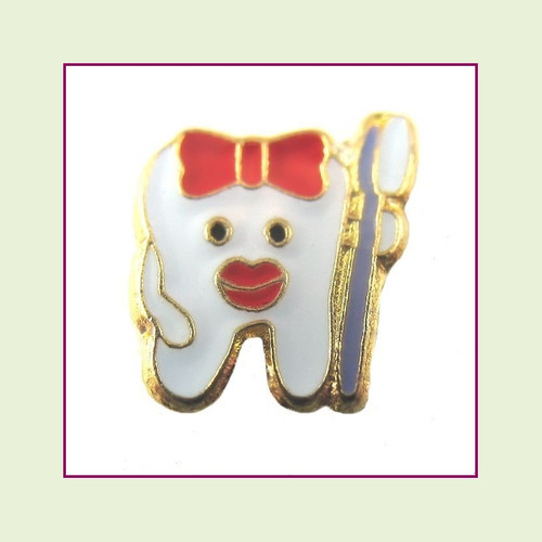 Tooth with Brush (Gold Base) Floating Charm