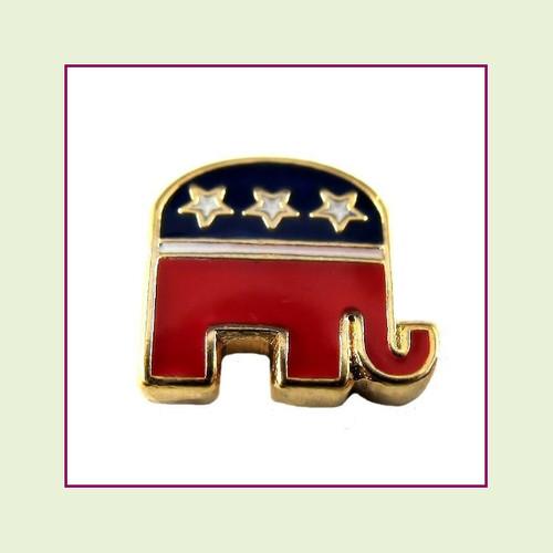 Republican Elephant (Gold Base) Floating Charm