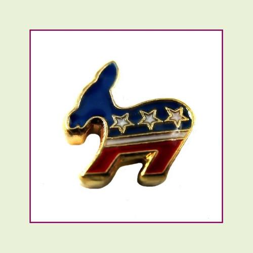 Democrat Donkey (Gold Base) Floating Charm