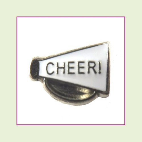 Cheer on White Megaphone (Silver Base) Floating Charm