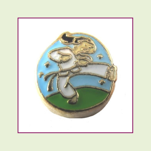 Karate Girl (Gold Base) Floating Charm