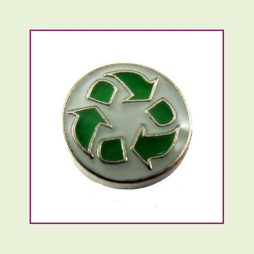 Recycle Symbol (Silver Base) Floating Charm