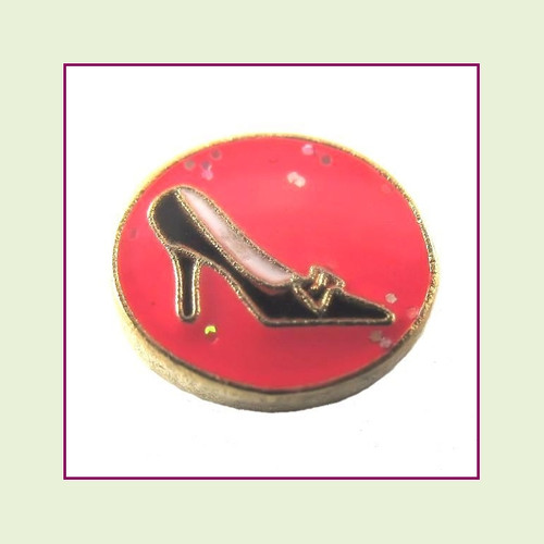 Shoe on Pink Round (Gold Base) Floating Charm