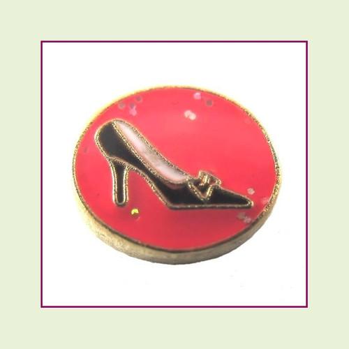 Shoe on Pink Round (Gold Base) Floating Charm