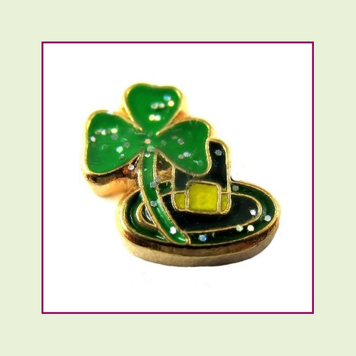 Leprechaun Hat (Silver Base) Floating Charm