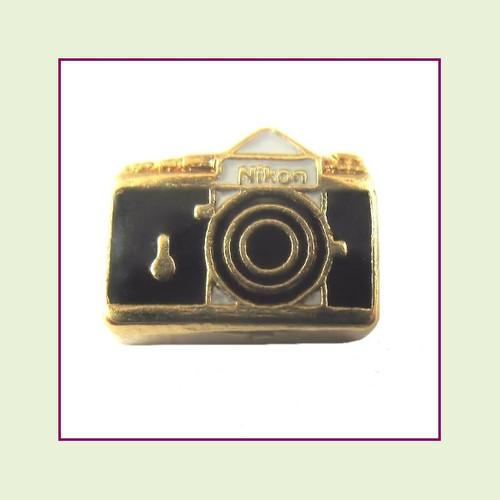 Camera Black (Gold Base) Floating Charm