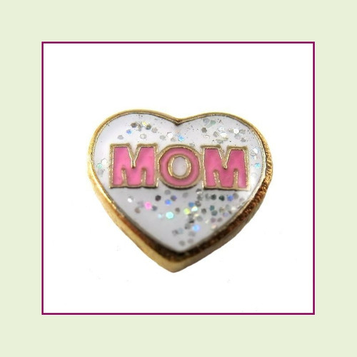 Mom White Glitter Heart (Gold Base) Floating Charm