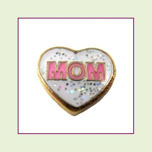 Mom White Glitter Heart (Gold Base) Floating Charm