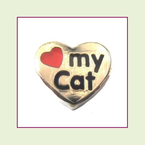 Love My Cat Silver Heart Floating Charm