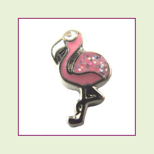 Flamingo Small Glitter Pink (Silver Base) Floating Charm