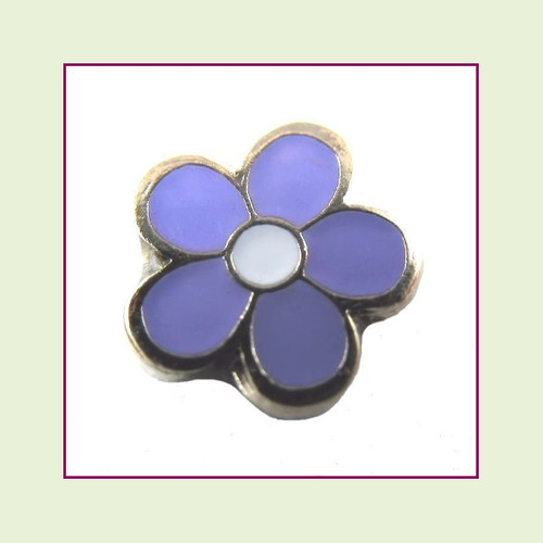 Flower Purple (Silver Base) Floating Charm
