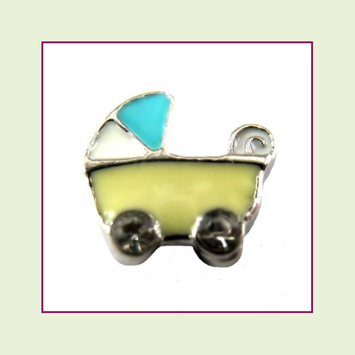 Baby Stroller Yellow (Silver Base) Floating Charm