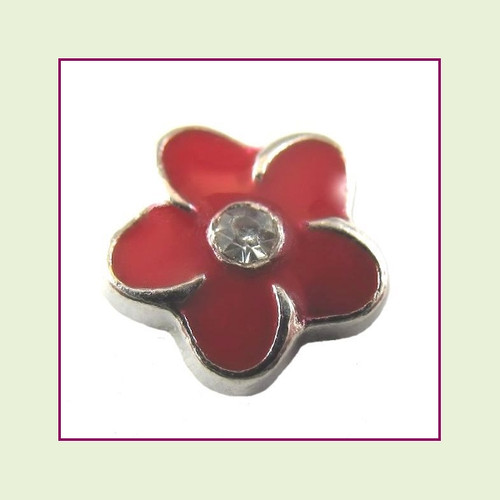 Flower Red with Crystal (Silver Base) Floating Charm