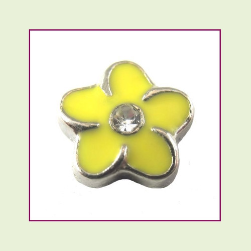 Flower Yellow with Crystal (Silver Base) Floating Charm