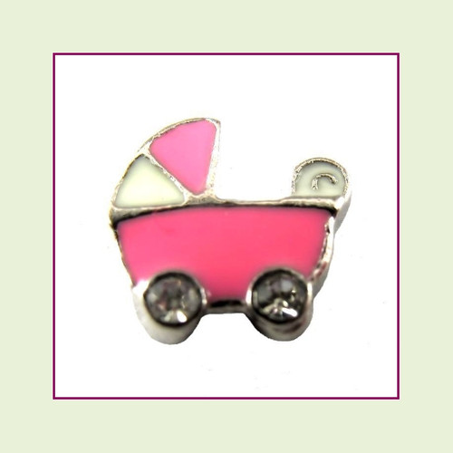 Baby Stroller Pink (Silver Base) Floating Charm
