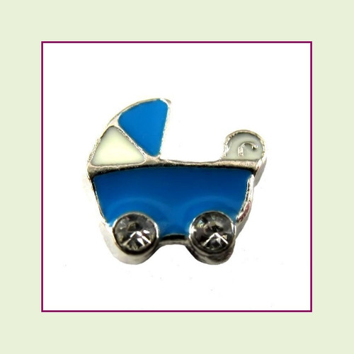 Baby Stroller Blue (Silver Base) Floating Charm