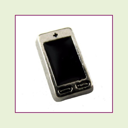 Smart Phone Black (Silver Base) Floating Charm
