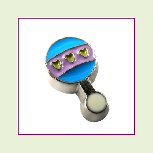 Baby Rattle Blue & Purple (Silver Base) Floating Charm