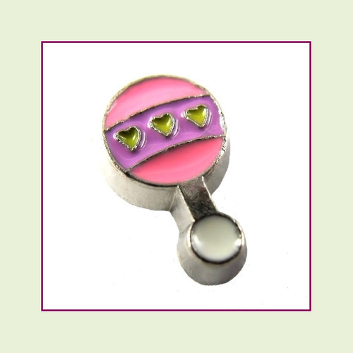 Baby Rattle Pink & Purple (Silver Base) Floating Charm