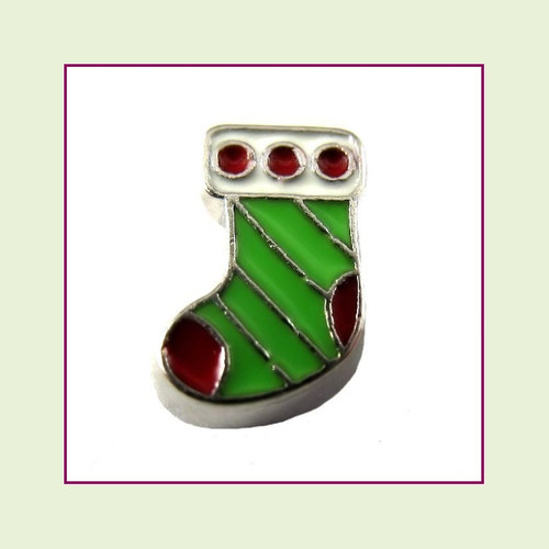 Christmas Stocking Green (Silver Base) Floating Charm