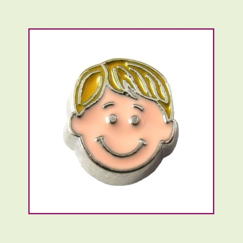 Boy #4 Straight Hair - Blonde Hair (Silver Base) Floating Charm