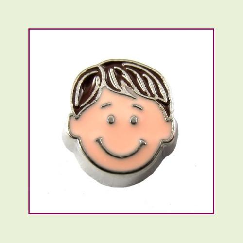 Boy #4 Straight Hair - Dark Brown Hair (Silver Base) Floating Charm