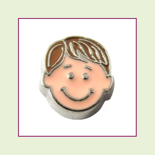 Boy #4 Straight Hair - Light Brown Hair (Silver Base) Floating Charm