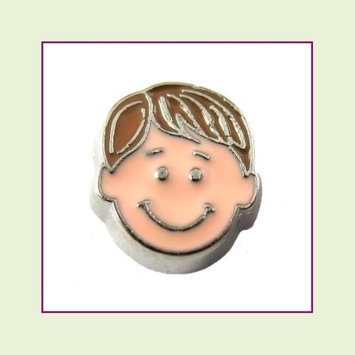 Boy #4 Straight Hair - Light Brown Hair (Silver Base) Floating Charm