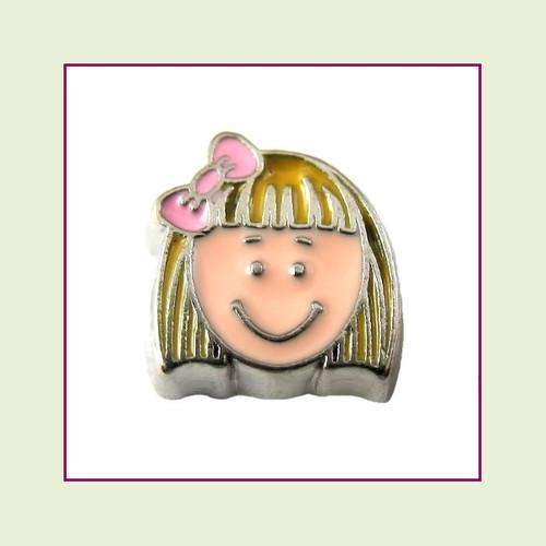 Girl #7 Short Hair - Blonde Hair (Silver Base) Floating Charm