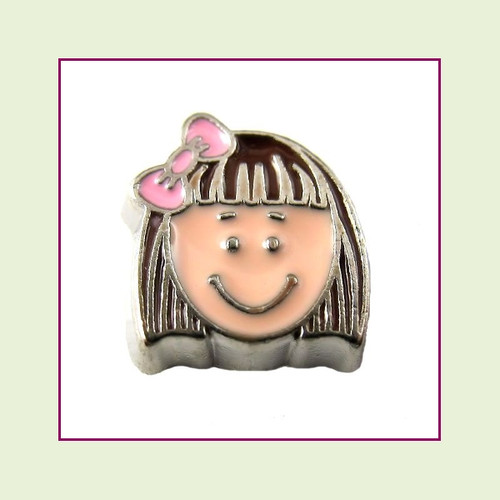 Girl #7 Short Hair - Dark Brown Hair (Silver Base) Floating Charm