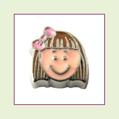 Girl #7 Short Hair - Light Brown Hair (Silver Base) Floating Charm