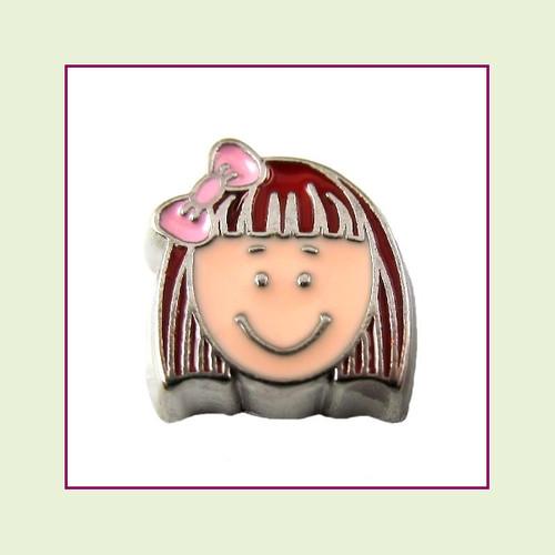 Girl #7 Short Hair - Red Hair (Silver Base) Floating Charm