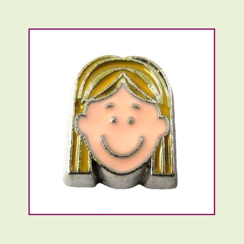 Girl #5 Long Hair - Blonde Hair (Silver Base) Floating Charm
