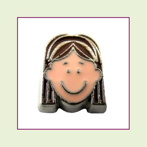 Girl #5 Long Hair - Dark Brown Hair (Silver Base) Floating Charm