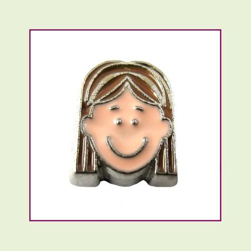 Girl #5 Long Hair - Light Brown Hair (Silver Base) Floating Charm