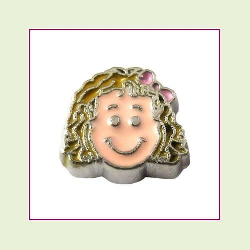 Girl #4 Curly Hair - Blonde Hair (Silver Base) Floating Charm