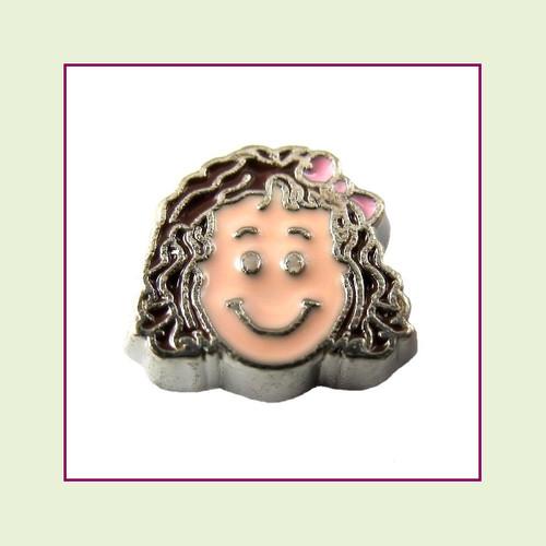 Girl #4 Curly Hair - Dark Brown Hair (Silver Base) Floating Charm