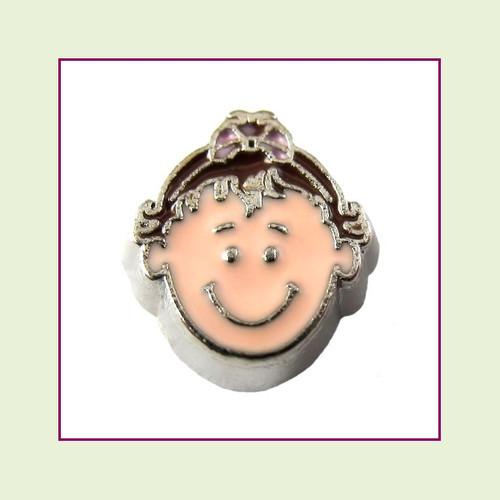 Girl #6 Toddler - Dark Brown Hair (Silver Base) Floating Charm