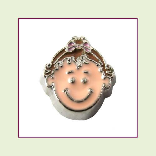 Girl #6 Toddler - Light Brown Hair (Silver Base) Floating Charm