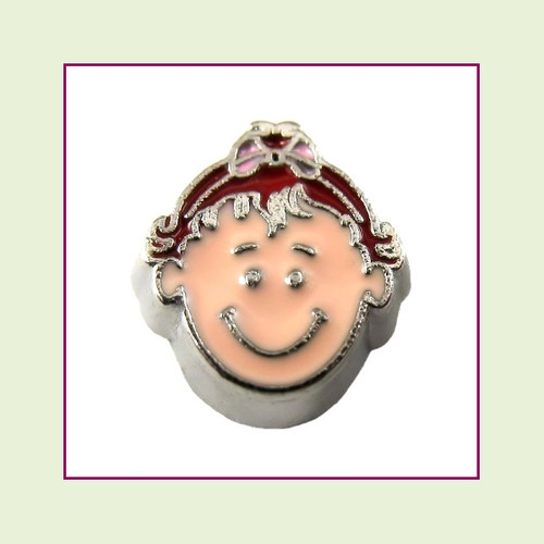 Girl #6 Toddler - Red Hair (Silver Base) Floating Charm