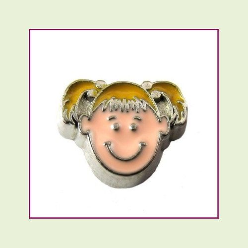 Girl #2 Pigtails - Blonde Hair (Silver Base) Floating Charm