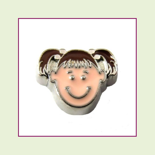 Girl #2 Pigtails - Dark Brown Hair (Silver Base) Floating Charm