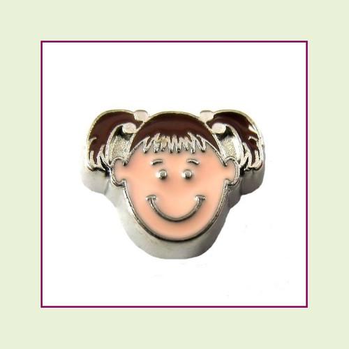 Girl #2 Pigtails - Dark Brown Hair (Silver Base) Floating Charm