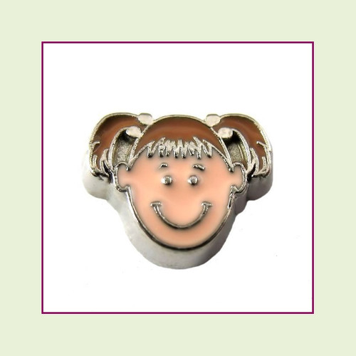 Girl #2 Pigtails - Light Brown Hair (Silver Base) Floating Charm